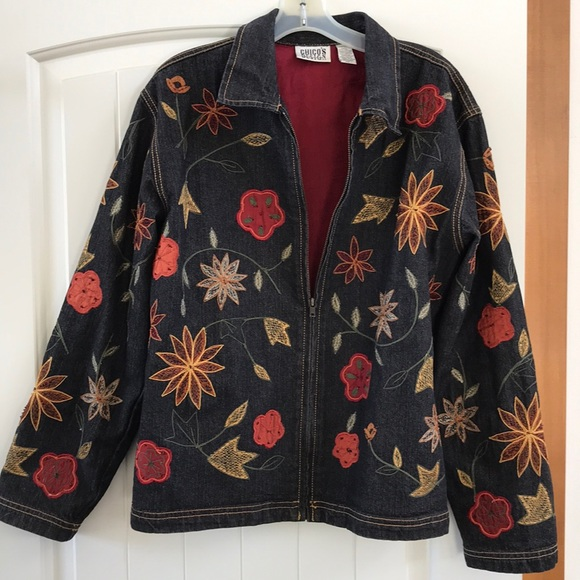 Chico's Jackets & Blazers - Chico's Embroidered Jens Jacket size 1